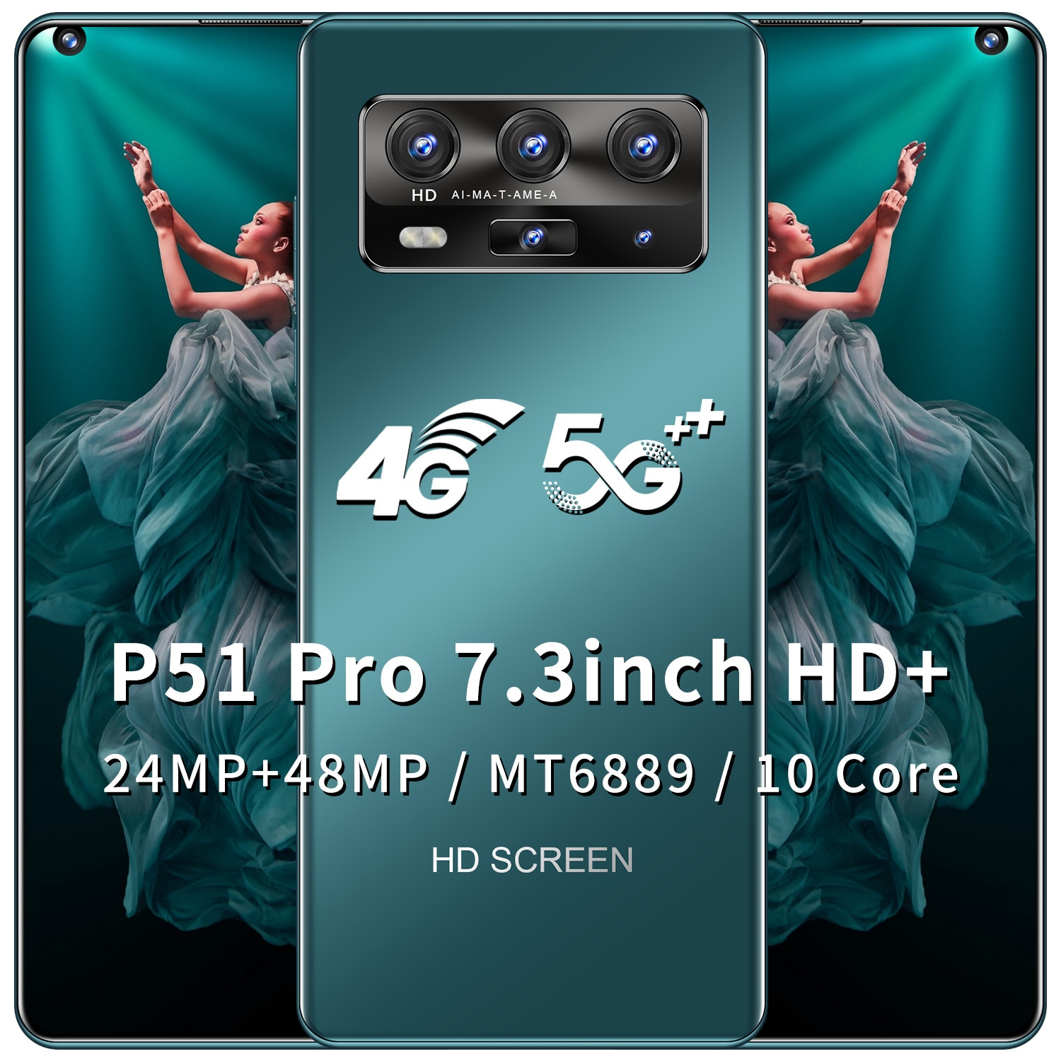 P51 Pro Mobile Phone 7.3 inch 128GB ROM 6GB RAM Smartphone 5600mAh free shipping Mobile Phone Cheap