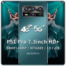 P51 Pro Mobile Phone 7.3 inch 128GB ROM 6GB RAM Smartphone 5600mAh free shipping Mobile Phone Cheap