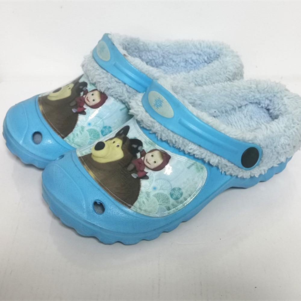 Children Kids Mules Winter  Girls Warm Clogs Boys  Croc Sandals Garden Bear Cartoon Slippers  Baby Shoes For Girl Boy EUR24-35