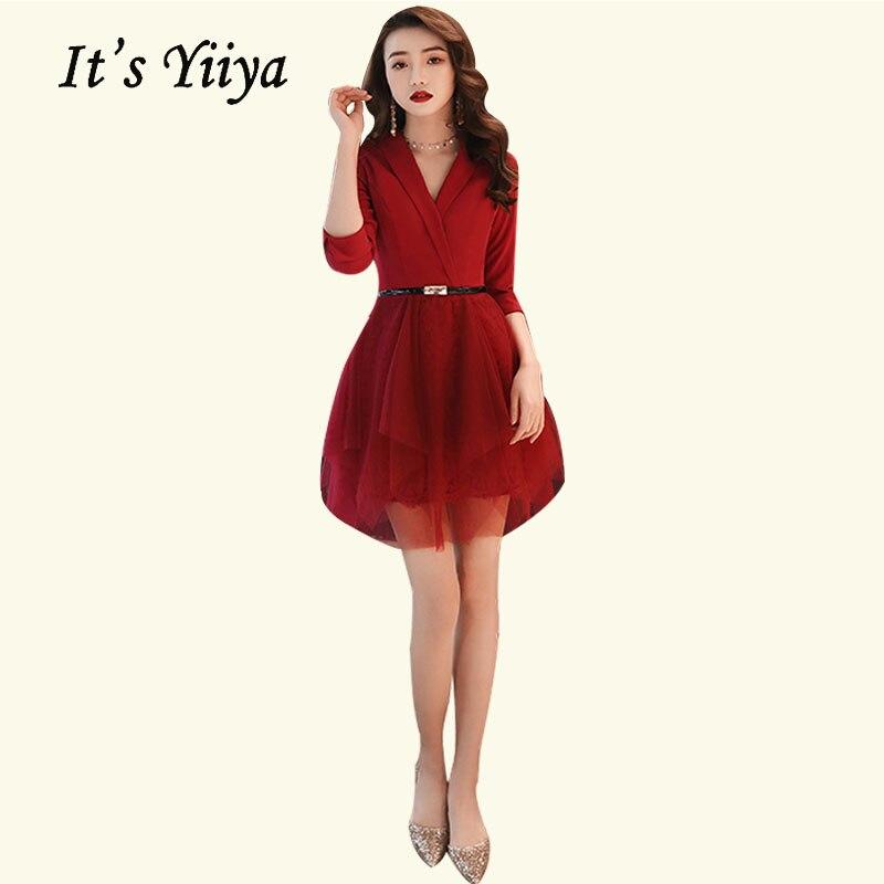 Yiiya-فستان كوكتيل قصير برقبة على شكل v ، أنيق ، عنابي ، أكمام ثلاثة أرباع ، فستان سهرة رسمي ، BR473