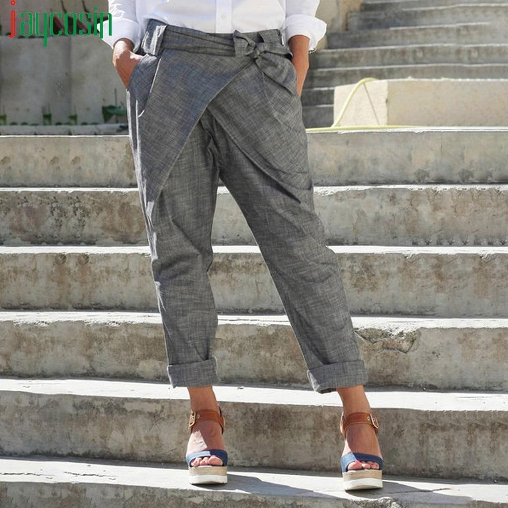 Pantalones de lino de cintura alta sueltos de pierna ancha Pantalones rectos informales de talla grande para mujer pantalones de playa con tiras pantalones de correr
