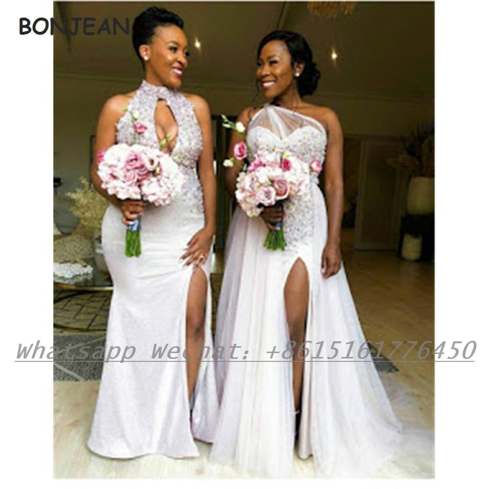 Beads White 2021 Bridesmaid Dresses Halter Satin African Bridesmaid Dress Plus Size for Women Wedding