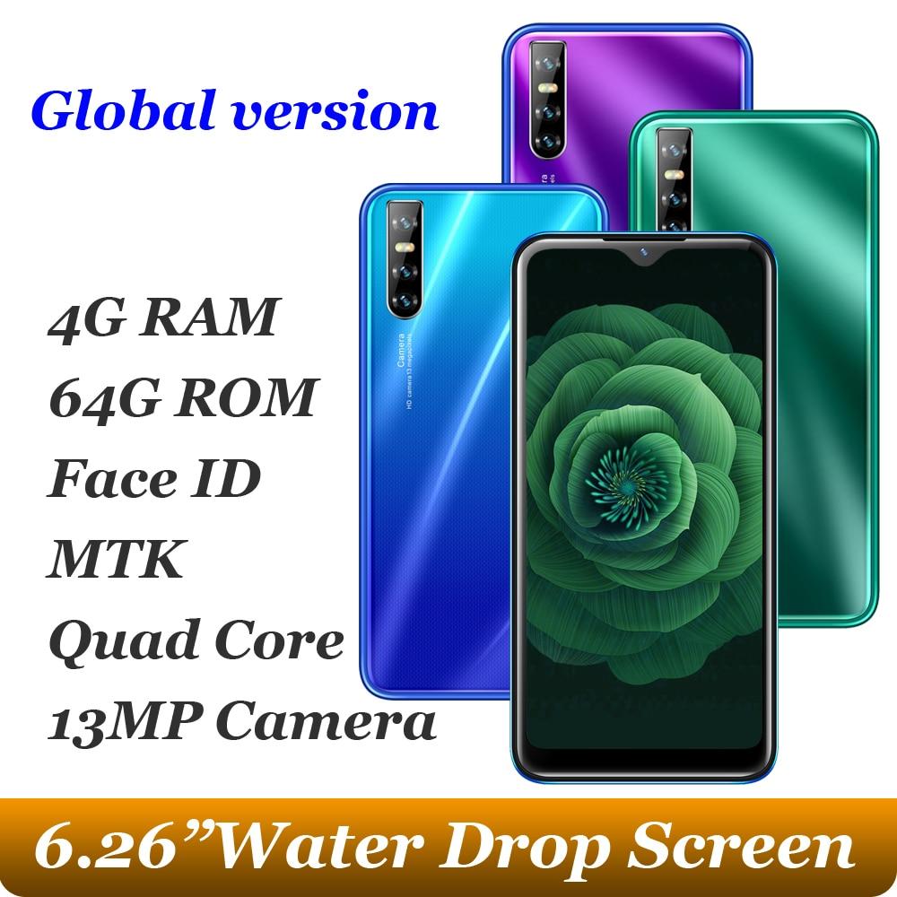 Tela de gota de água a21s quad core 13mp 6.26 polegada smartphones 4g ram 64g rom android 5.1 telefones celulares celulares face id desbloqueado