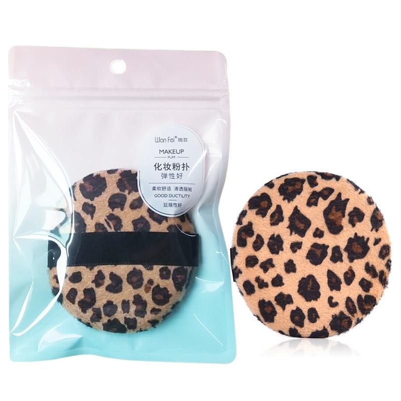 1 stücke Professionelle Runde Form BB Creme Pulver Puff Tragbare Weiche Kosmetische Puff Make-Up Foundation Schwamm Für Frauen Leopard drucken