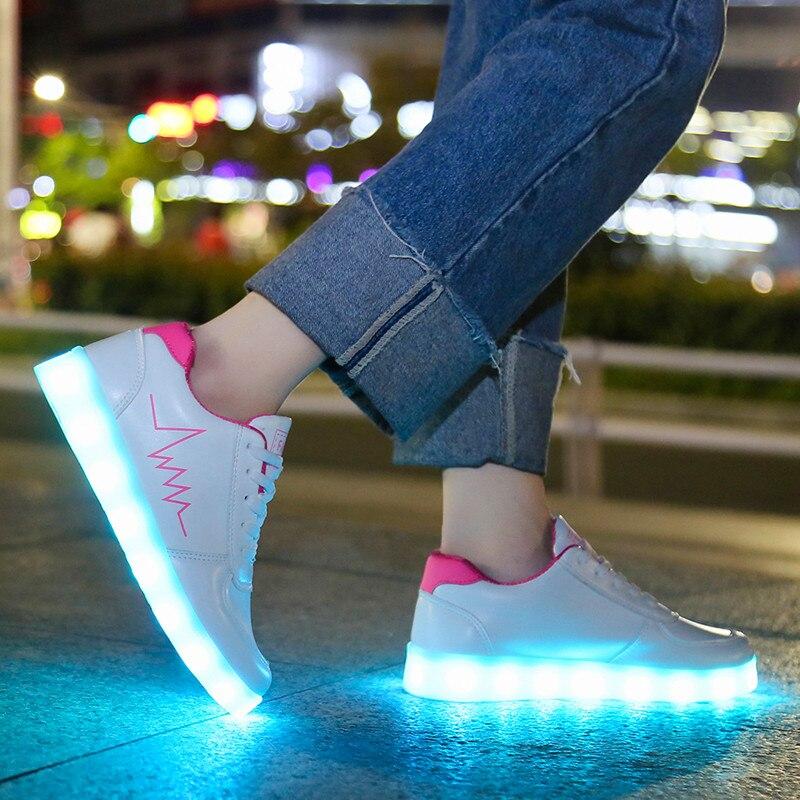Kritiv usb luz sapatos sapatilhas luminosas 2020 led casual acender crianças adulto sapatos femininos