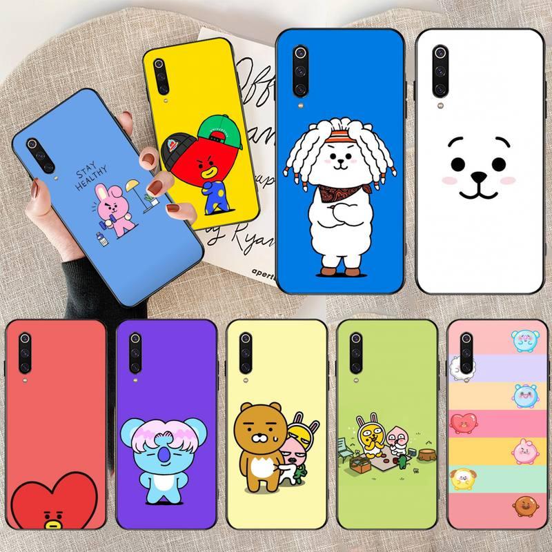 Cute cartoon BT21 Soft Silicone Black Phone Case for Xiaomi Mi10 10Pro 10 lite Mi9 9SE 8SE Pocophone F1 Mi8 Lite