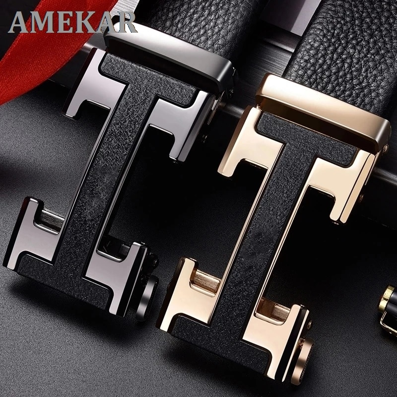 Brand Designer Genuine Leather Automatic Buckle Belt Top Layer Cowhide Pure Men's Business Pants Bel