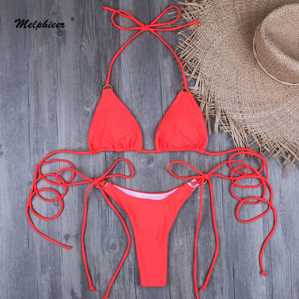Nuevo Micro Mini Bikini Sexy cadena Bikini monokini Tanga Bikini brasileño mujeres traje De baño sólido traje De baño Maillot De Bain XL