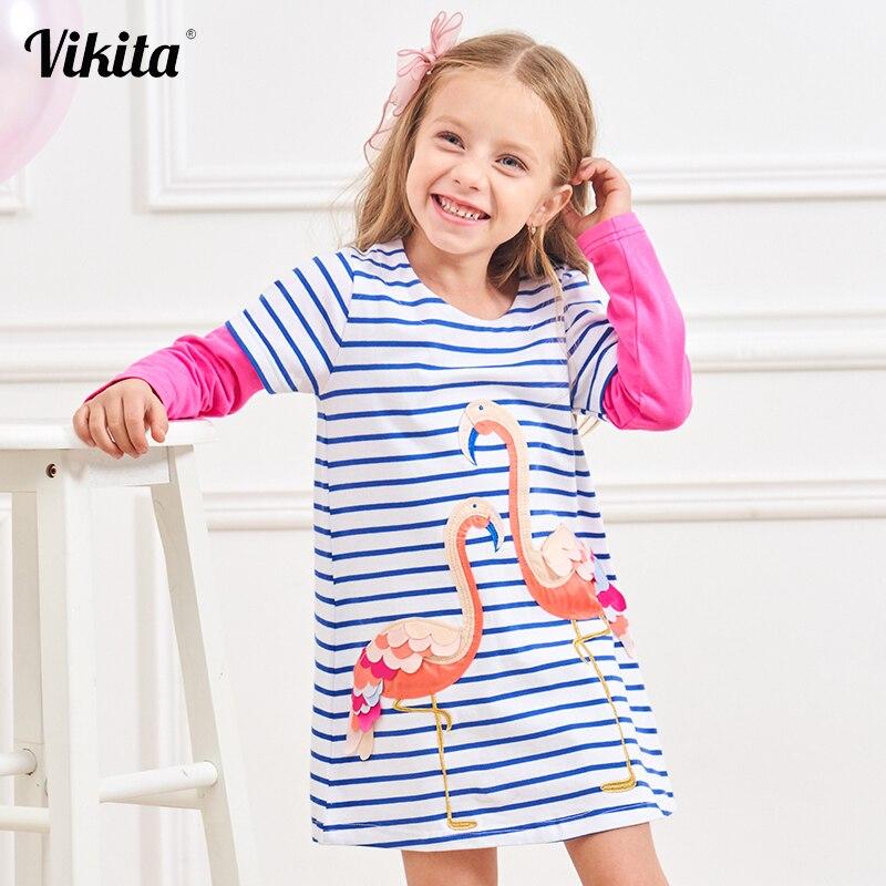 Vestido de marca VIKITA para niñas con lentejuelas, vestidos de flamencos para niñas, vestido tutú de princesa para niños , vestidos de manga larga de dibujos animados LH4575