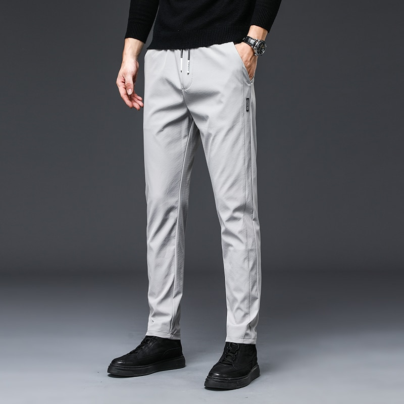 2021 Autumn New Men'S Fashion Casual Pants Korean Style Slim Straight Stretch Trousers Male Classic Brand Tie Elasticity Pants
