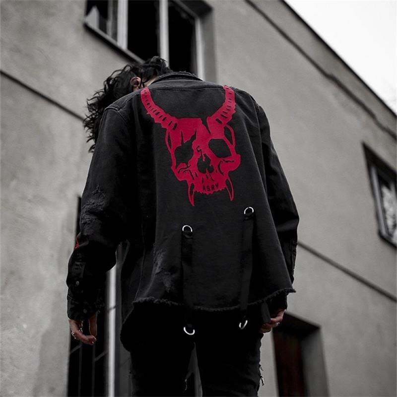 Denim Jacket Black Coat Casual Harajuku Streetwear Vintage Jeans Coat Gothic Embroidery Demon Hunter Skull Men Rock Punk Jacket
