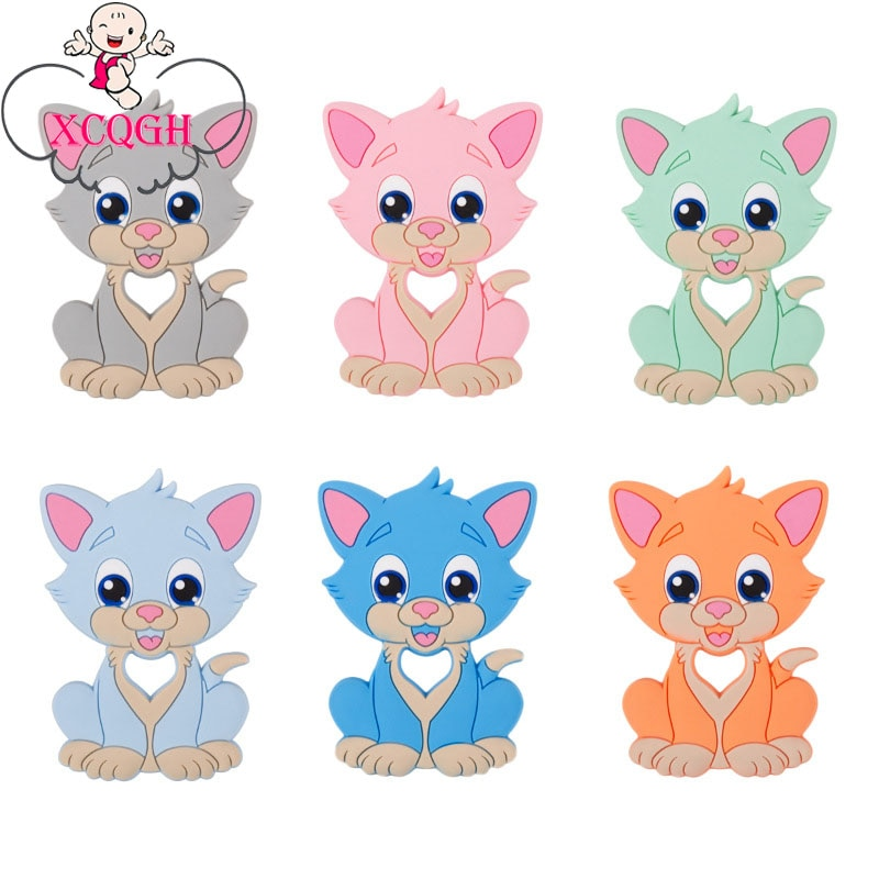 XCQGH 1pc Animal Cat Baby Teethers Food Grade Silicone Chewable Teether Nursing Teething Pendant Bab