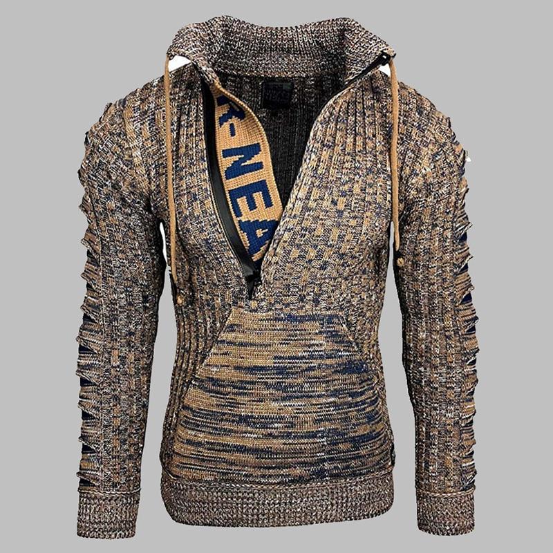 Зимний мужской свитер, Модный пуловер в стиле Хай-стрит, мужской вязаный свитер с надписью на молнии, Мужской новогодний свитер