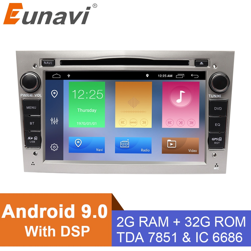 Eunavi Android 9 2 din Car DVD player for opel Vauxhall Astra H G J Vectra Antara Zafira Corsa Vivaro Meriva Veda GPS navi radio