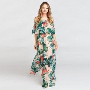 Summer Floral Strapless Maxi Holiday Casual Split Print Long Beach  Sexy Sleeveless Chiffon Ruffle Fashion Dresses