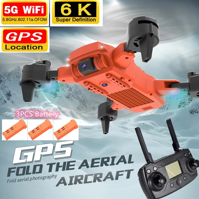 6K ESC Dual HD Camera GPS Optical Flow Position RC Quadcopter Smart Follow Me 1500M RC Drone With Carry Bag Power Motor Aircraft