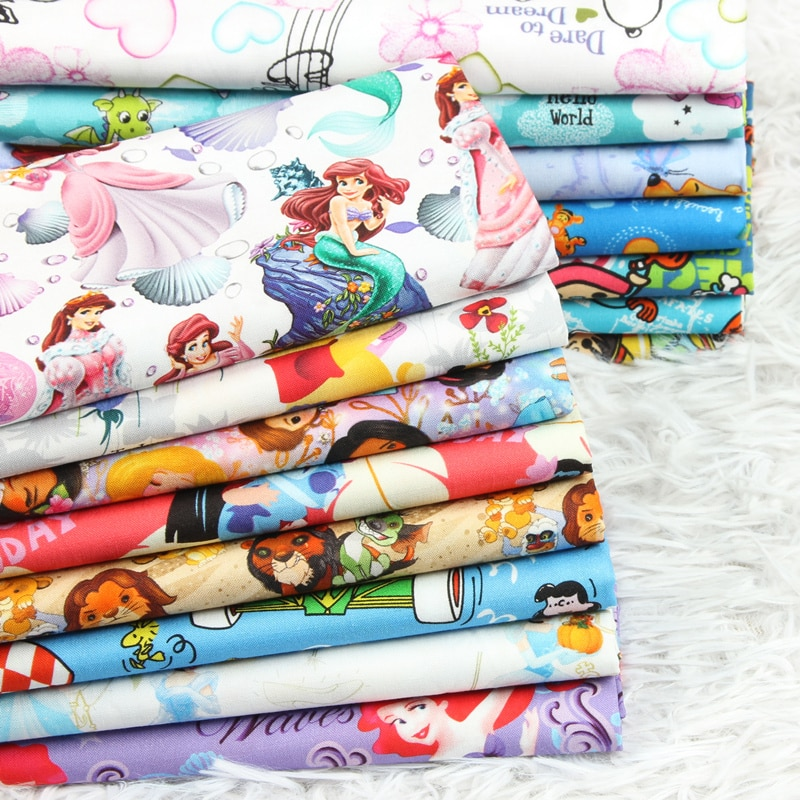 De dibujos animados de la tela de algodón de impresión de tissus de personajes de cómic digital impreso tela para DIY vestido, costura ropa hometextile
