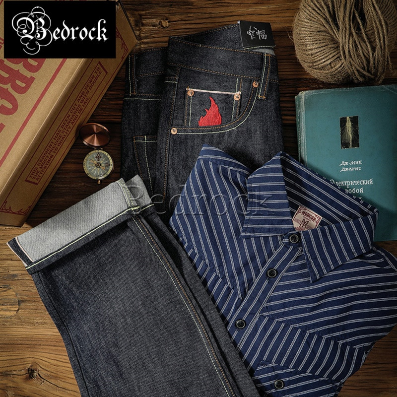 MBBCAR 15oz heavy cattle jeans vintage selvedge jeans for men unwashed raw denim jeans without singeing straight jeans 705