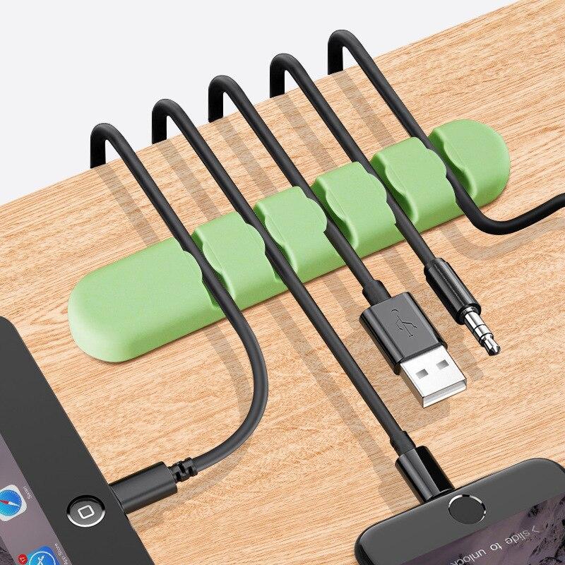 Organizador de cables para teléfono, envío gratis, Color caramelo, 5 agujeros, macarrón, superadherente, enrollador de silicona con línea de carga para auriculares de escritorio