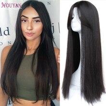 Houyan-peluca larga y recta con división central, peluca sintética negra Invisible, ajustada, natural, casco completo