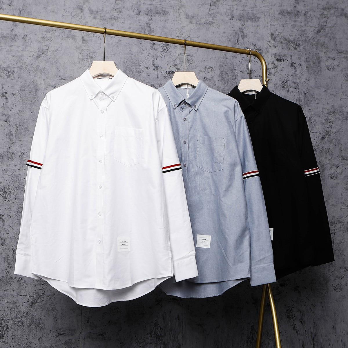 ربيع الخريف الرجال المرأة الكلاسيكية بسيطة قمصان عادية