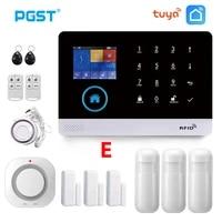 PGST     systeme dalarme de securite domestique sans fil PG103  wi-fi  GSM  TUYA  avec detecteur de fumee dincendie  telecommande  Smart Life