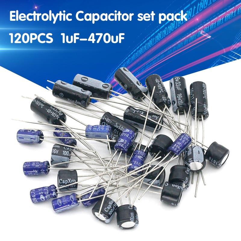 Aliexpress - Electrolytic capacitors set of 120pcs 12 values 0.22uF-470uF