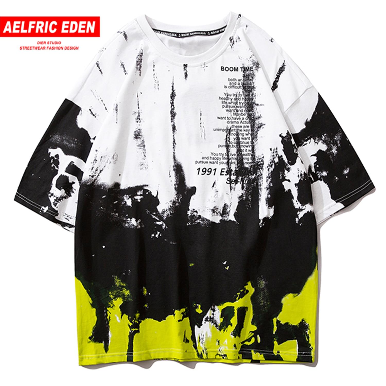 Aelfric Eden Dagger Letter Print T Shirt Men 2020 Fashion Short Sleeve Hip Hop Fashion Loose Male Casual Cotton Tops Streetwear