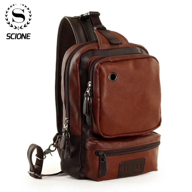 Scione-حقائب ظهر جلدية للرجال ، حقائب ظهر كروس مقاومة للماء ، حقائب كروس عصرية للعمل في الهواء الطلق مع فتحة سماعة أذن