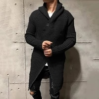 2021new mens long hooded cardigan male autumn loose vintage tops cardigan coat casual solid simple knitting sweaters outerwear