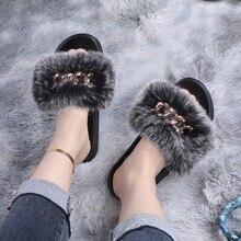 2021Women Slippers Ladies Summer Flat Fox Fur Slides Women Fox Fur Sandals Woman Outdoor Sandals Fem