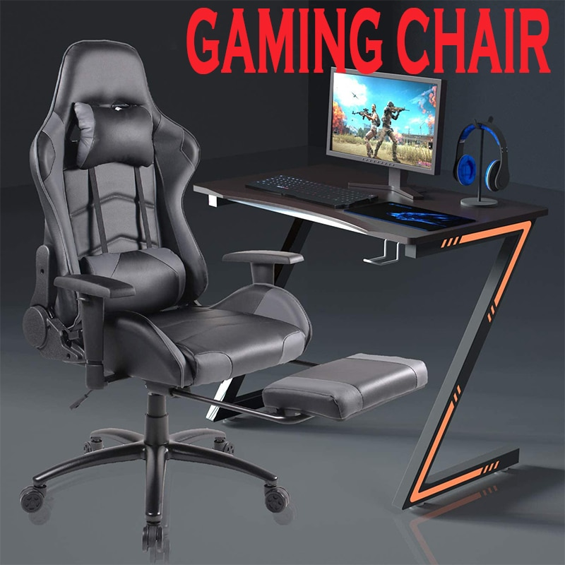 Кожа игровое кресло бытовой кресло эргономичные компьютерные стулья для офиса и поворотный Функция регулируемая подножка