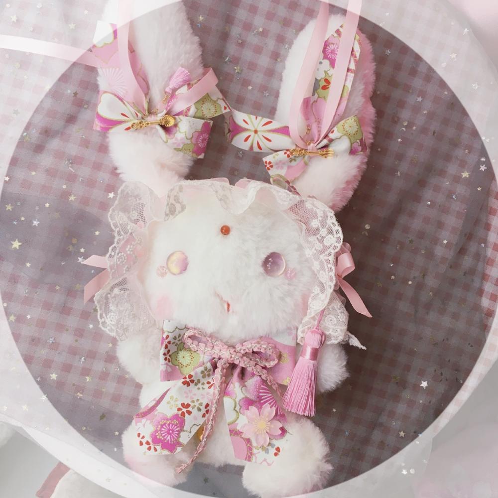 Soft Girl Sweet Lolita Cute Plush Rabbit Dolls Bag Japanese Lovely Furry Kimono Bunny Shoulder Bag Messenger Bag Handbag Cosplay
