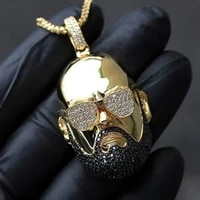 hip hop fashion golden necklace uncle rap portrait men pendant inlaid rhinestone jewelry punk party jewelry anniversary gift