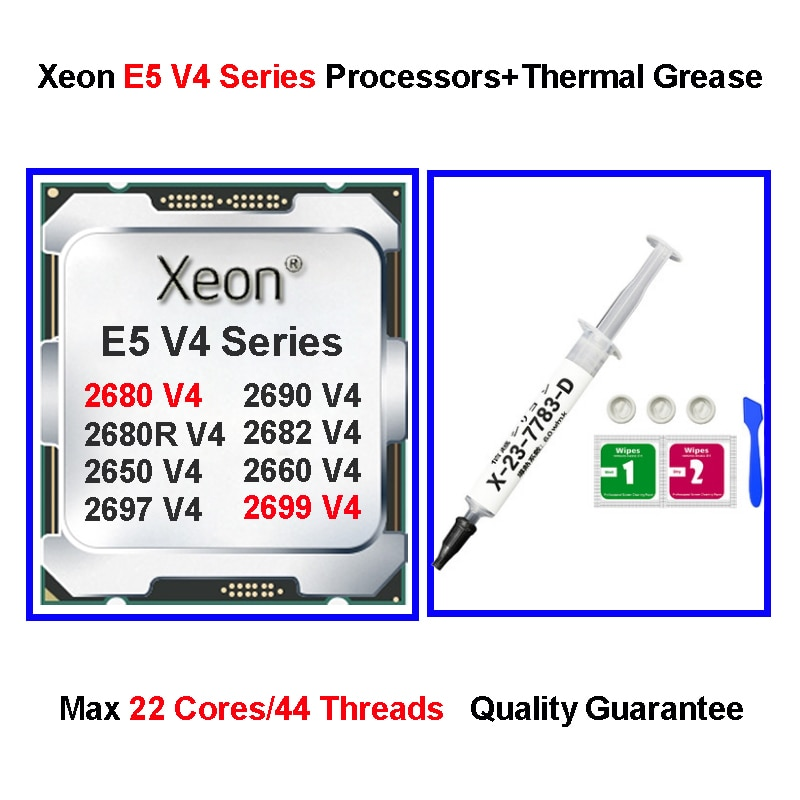 إنتل X99 LGA 2011-3 زيون وحدة المعالجة المركزية مع شحم حراري E5 2680 V4 المعالجات 2698 2699 V4 22 النوى معجون حراري ملحقات الكمبيوتر
