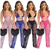 with underwear leopard printed two piece set backless crop top wide leg pants ruffles lace crochet outfits sheer summer style