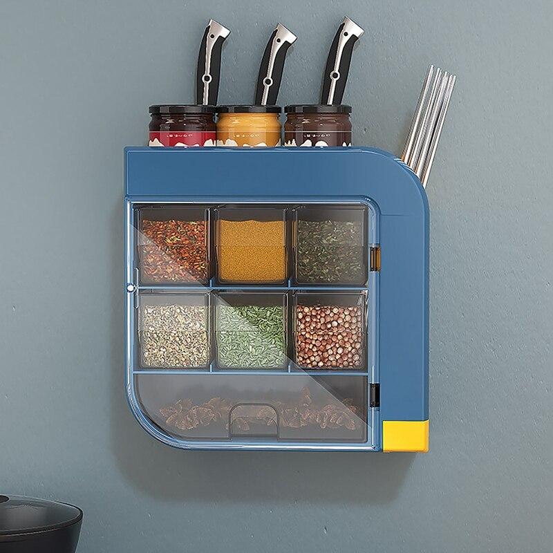 رف توابل متعدد الشبكة ثقب الحرة حامل سكاكين المنزلية المطبخ الحائط أداة تخزين الرف