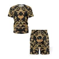 mens suit retro ethnic style summer clothes 3d printing short sleeved t shirt shorts suit new beach clothes 2 piece suit men