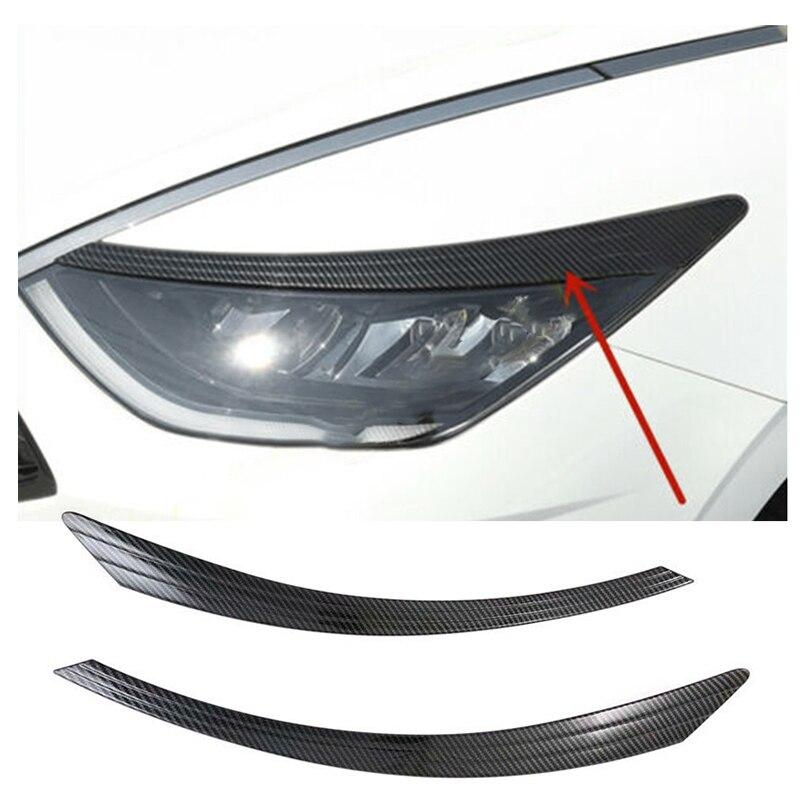 Car Carbon Look Front Headlight Lamp Eyebrows Cover Trim for Hyundai Sonata 2020-2021