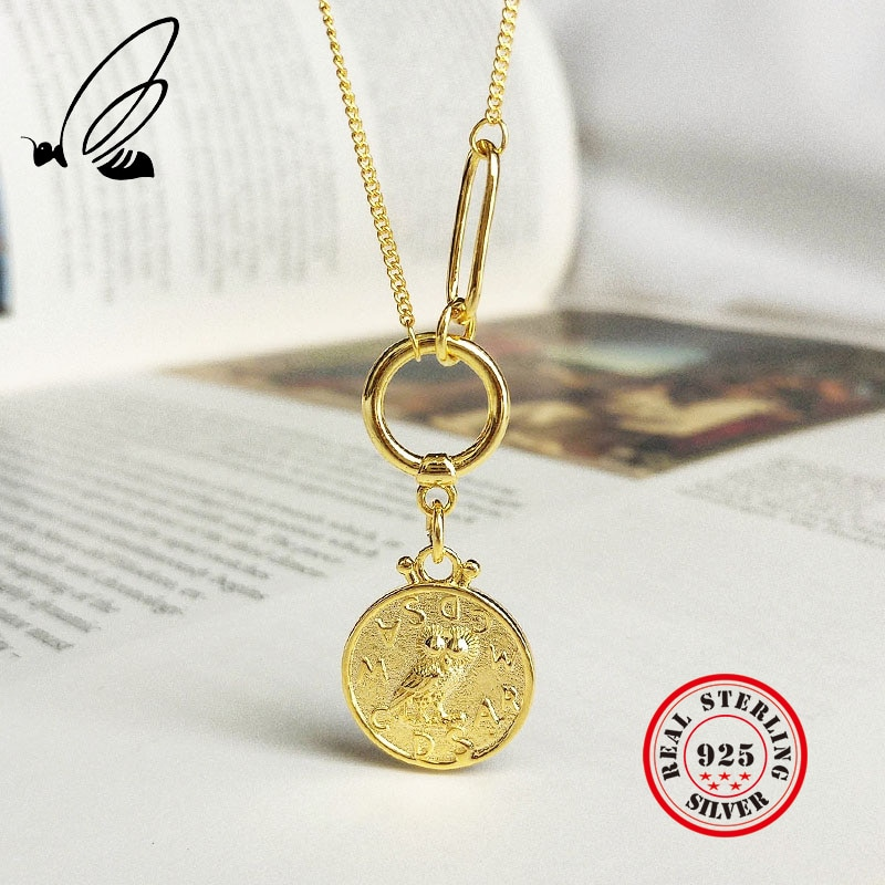 Colliers pendentifs pour femmes 925 argent Sterling bohème or chaîne pièce de monnaie Couple Uzun Kolye collier Mujer Bizuteria Damska takura