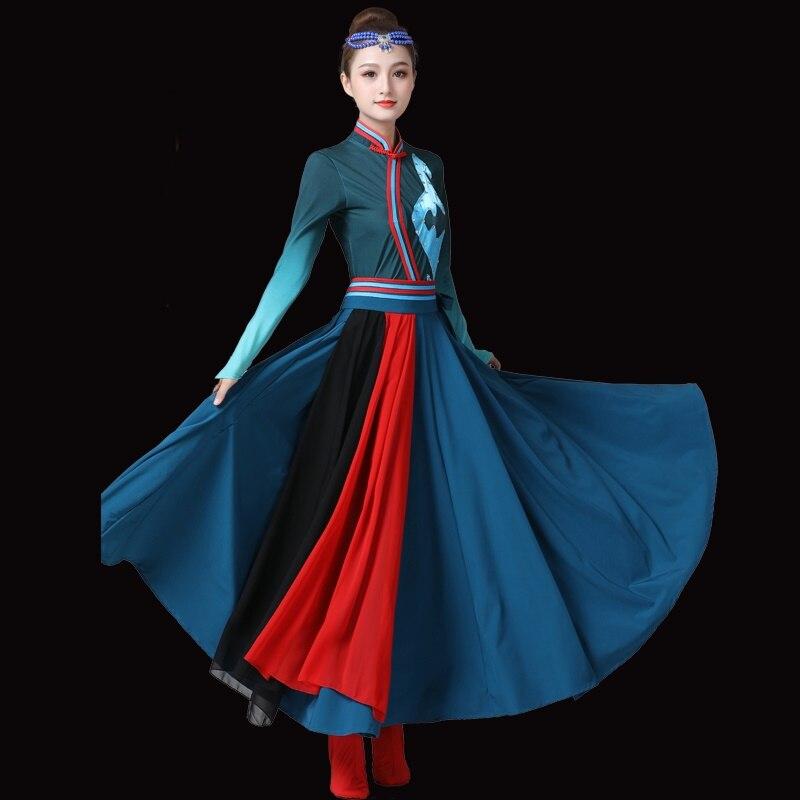 Ropa de traje mongol Ropa de baile popular chino ropa vestido de escenario ropa de actuación de danza vestido mongol TA2276