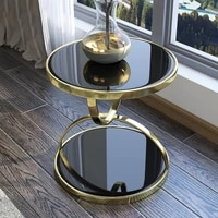nordic style modern light luxury black and white mini glass round corner coffee table living room bedroom balcony leisure round