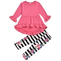 puseky girls 2 pieces sets girls flower print outfits solid pink dress top with flower floral pants