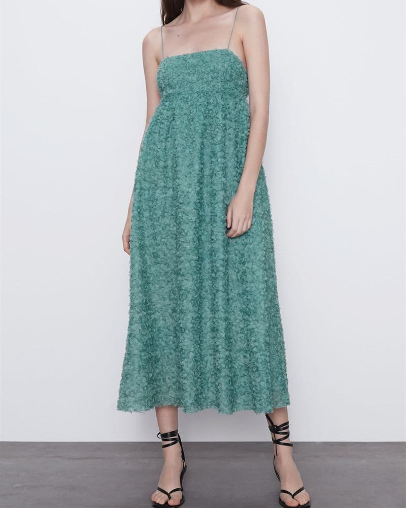 Elegante vestido de verano ZA, mujer, Midi, de talla grande, tirantes finos con espalda al aire libre, forro Interior, Vestidos de fiesta elegantes para mujer 2020