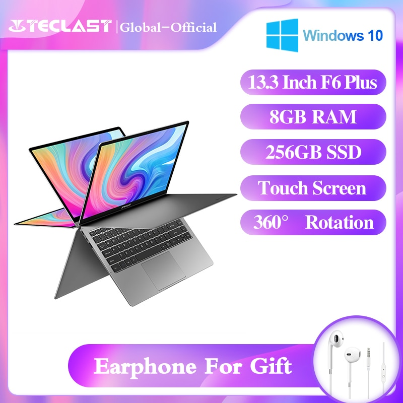 Teclast f6 plus portátil 360 ° girando 13.3 polegada windows10 8gb ram 256gb ssd 1920*1080 ips tela de toque intel celeronn4100 notebook