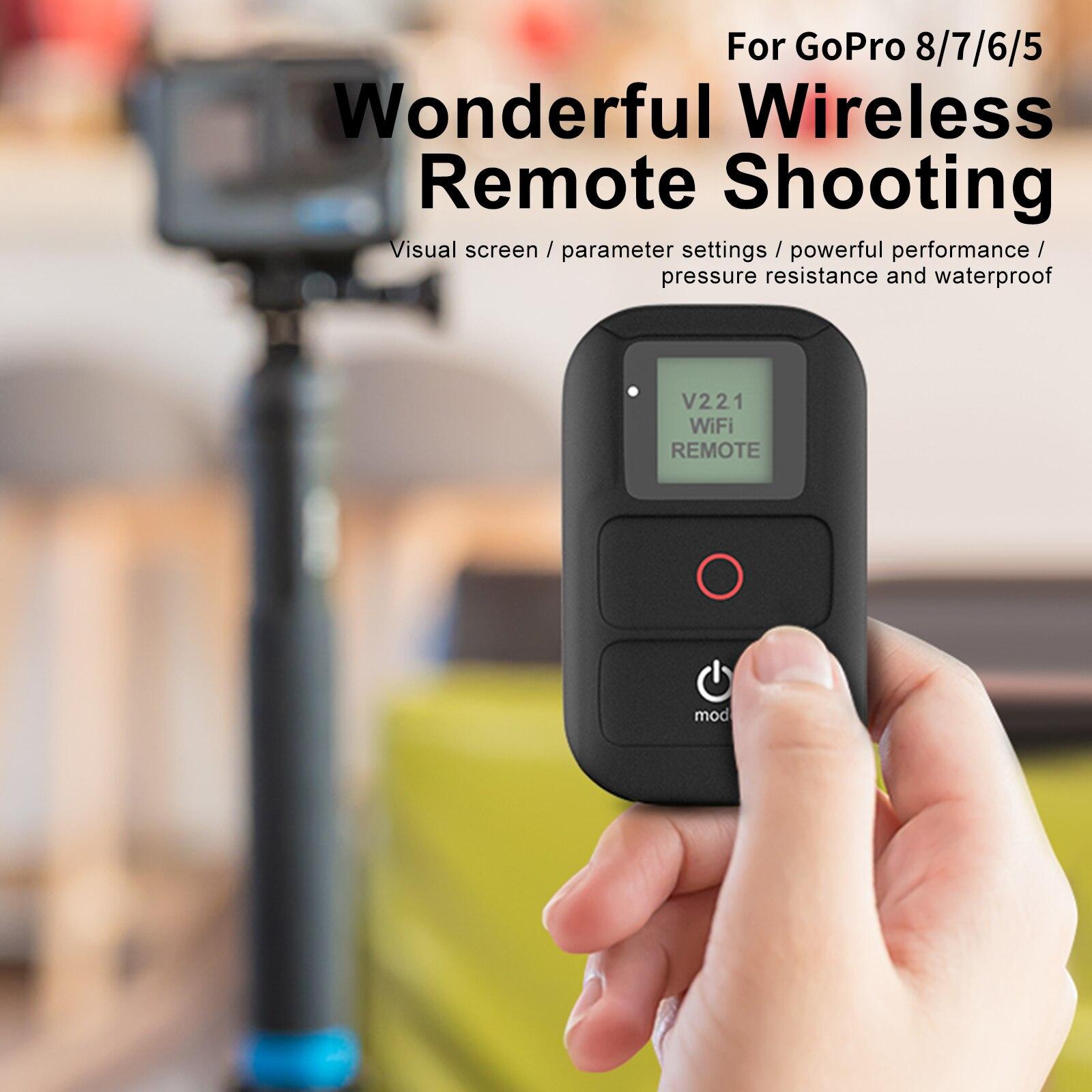 TELESIN WiFi جهاز التحكم عن بعد هو مناسبة ل GoPro بطل 8 7 6 5 4 3 الأسود بطل 4 جلسة الرياضة كاميرا الملحقات ip54water