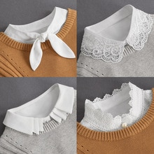 Front Tie White Fake Collar Stand Beads Detachable Collar Fake Women Vintage Crystal Lace Ladies Fal