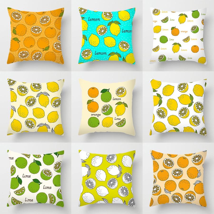 Двухсторонний чехол для подушки из полиэстера с принтом на заказ, синие и желтые Чехлы для подушек, меняющие цвет лимон, апельсин, фрукты, ар...