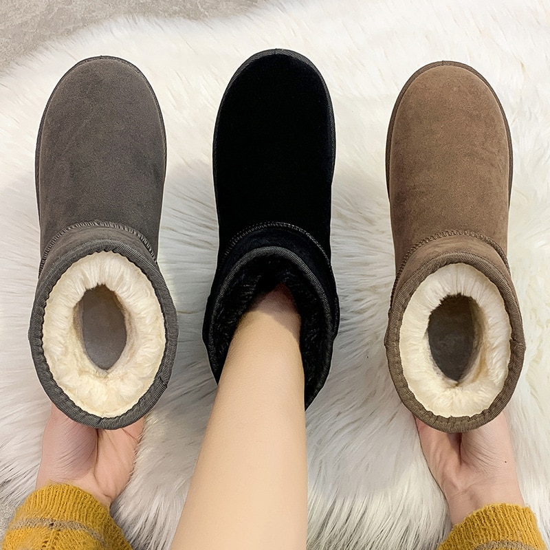 Winter Women's Plush Thickened Snow Boots Warm Flat Cotton Shoes No-Slip Breathable Short Boots Durable Walking Shoes For Female