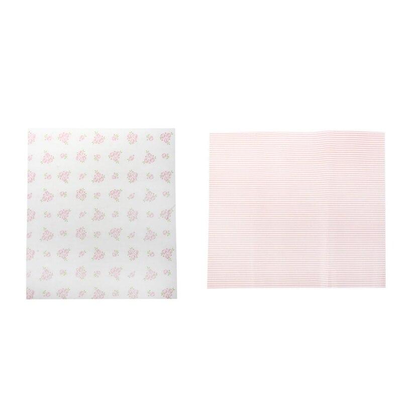 Papel da cera de 100 pces, papel de envolvimento do alimento, papel de cozimento à prova de graxa, papel de empacotamento do sabão-seção das listras vermelhas de 50 pces & 50 pces rosa m